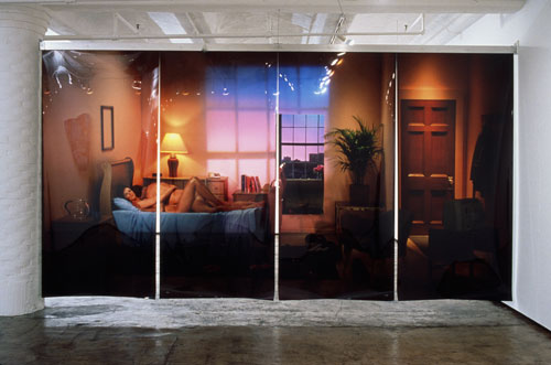 Michael Snow. Powers of Two, 2003. Four photographic transparencies, suspended from ceiling, 102 x 192 1/8 in (259 x 488 cm).