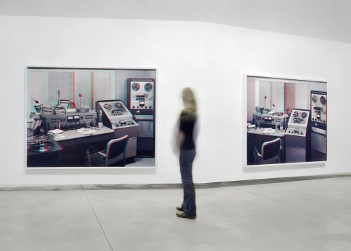 Mark Soo. That's That's Alright Alright Mama Mama, 2008. Two stereographic c-prints, 3D glasses, double-banked wall installation. Each print 180 x 236 cm, wall: 914 x 305 x 62d cm. Photograph: Robert Keziere.