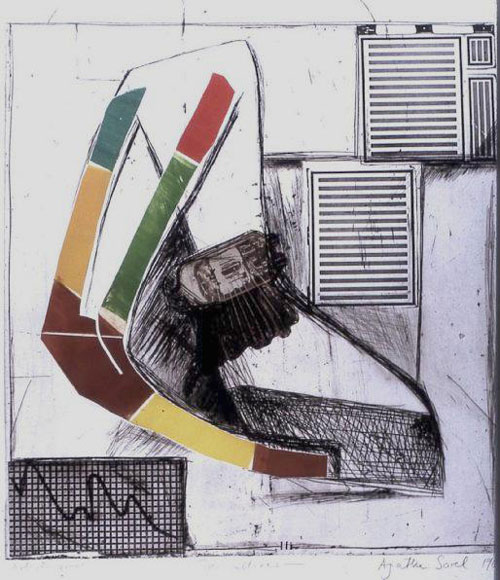 Agathe Sorel. Two Cultures, 1963. Photo gravure, dry point, engraving and brass cut out printed in black, green,