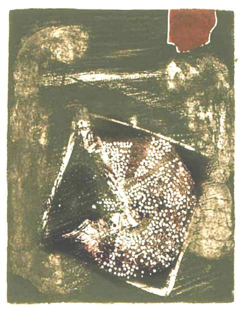 Agathe Sorel. Mass Hysteria, 1964. Deep bite, drilling and metal foil collage printed in black, brown, ochre and red,