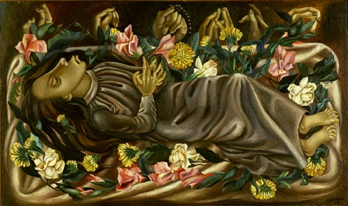 Juan Soriano. <em>The Dead Girl</em>, 1938. Oil on panel, 18 1/2 x 31 1/2 inches. Philadelphia Museum of Art, gift of Mr and Mrs Henry Clifford, 1947.