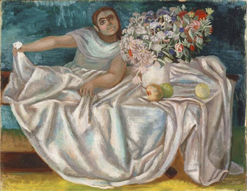 Juan Soriano. <em>Girl with a Bouquet</em>, 1946. Oil on canvas, 18 1/2 x 23 3/4 inches. Philadelphia Museum of Art, gift of Mr and Mrs Herbert Cameron Morris, 1957.