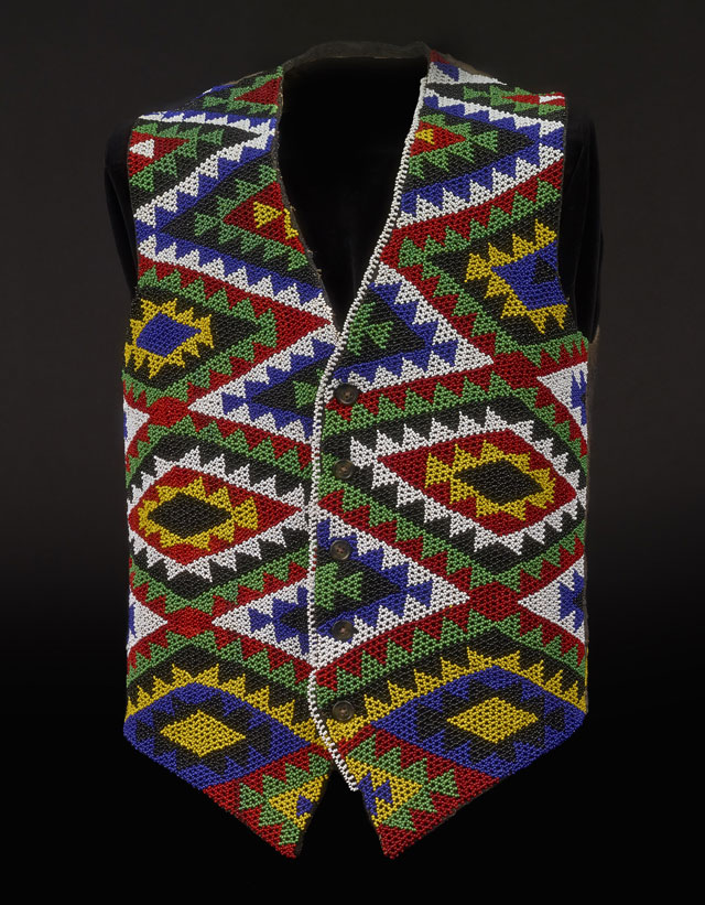 Zulu beaded waistcoat, glass and wool, South Africa, made before 1987. © The Trustees of the British Museum.