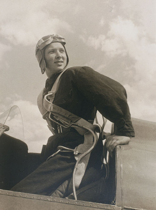 Arkady Shaikhet. The Parachutist Katya Melnikova, 1934. Gelatin silver print. Collection of Alex Lachmann.