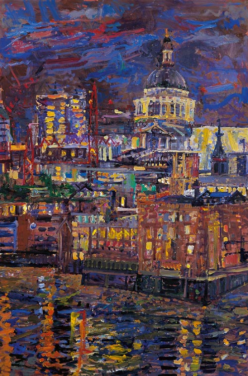 Peter Spens. <em>Night,</em> <em>St Pauls from Riverside House</em>, 2004, oil on canvas.