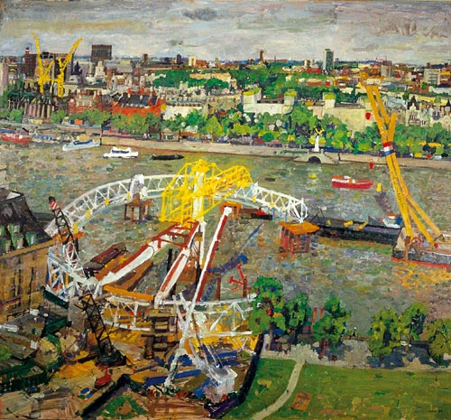 Peter Spens. <em>The London Eye under construction</em>, 1999, oil on canvas.