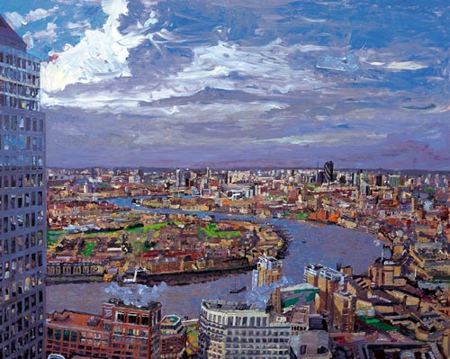 Peter Spens. <em>Morning, the City from HSBC</em>, 2005, oil on canvas.