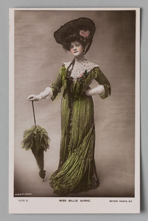 Postcard of Billie Burke, c1907, published by Dover Street Studio (English, active c1906–12). Hand-coloured photograph. Private collection. Photograph: Bruce White.