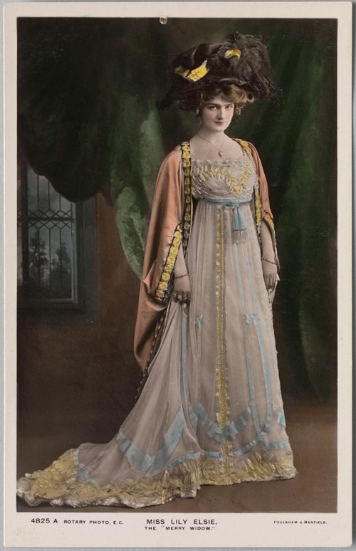 Foulsham & Banfield (English, 1906–20). Postcard of Lily Elsie in The Merry Widow, c1907. Private collection. Photograph: Bruce White.