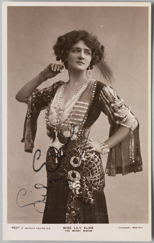Foulsham & Banfield (English, 1906–20). Postcard (2) of Lily Elsie in The Merry Widow, c1907. Private collection. Photograph: Bruce White.