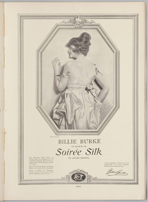 Advertisement for Rogers & Thompson's Soirée Silk featuring Billie Burke. Photograph by Sarony Studio. From The Theatre, September 1916: 165. Private collection. Photograph: Bruce White.