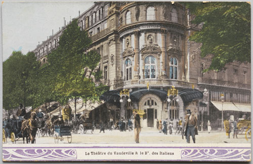 Postcard of the Théâtre du Vaudeville and the Boulevard des Italiens, c1905. Hand-coloured photograph. Private collection. Photograph: Bruce White.