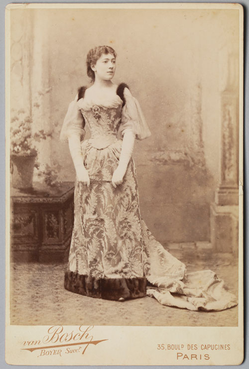 Van Bosch studio (French, active 1880s-1890s). Postcard of Jane Hading, c1889. Cabinet card. Private collection. Photograph: Bruce White.