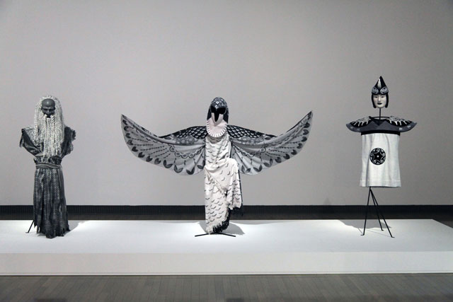 Simon Starling, At the Hawk's Well (Grayscale), 2014. Masks by Yasuo Miichi. Costumes by Kumi Sakurai/Atelier Hinode. Courtesy of Simon Starling & The Modern Institute.