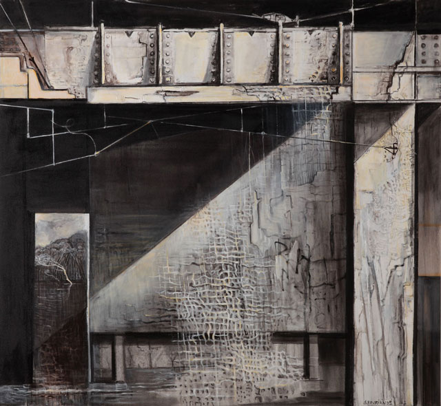 Wendy Stavrianos. Bridge 1 Disjunction, 2016. Acrylic on canvas, 180 x 195 cm.