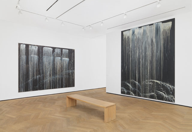 Installation view of Pat Steir at Dominique Lévy, London (9 November 2016 – 28 January 2017). Photograph: Alex Delfanne.