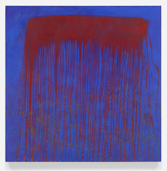 Pat Steir. Vibrating Blue and Red Waterfall, 1993. Oil on canvas, 48 x 48 in (121.9 x 121.9 cm). © Pat Steir, 2016. Courtesy Dominique Lévy, New York / London.