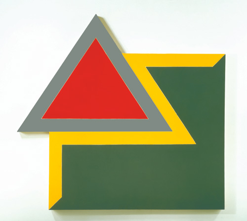 Frank Stella. Chocorua IV, 1966. Fluorescent alkyd and epoxy paint on canvas, 120 x 128 x 4 in (304.8 x 325.1 x 10.2 cm). Hood Museum of Art, Dartmouth College, Hanover, NH. © 2015 Frank Stella/Artists Rights Society (ARS), New York.