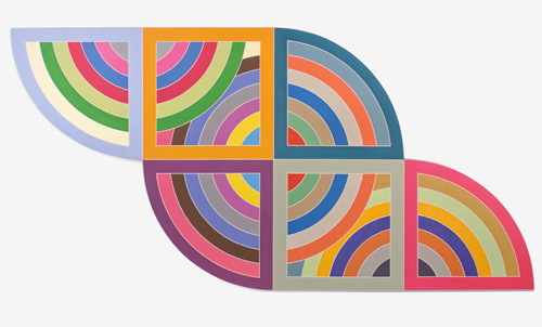 Frank Stella. Harran II, 1967. Polymer and fluorescent polymer paint on canvas. 120 x 240 in (304.8 x 609.6 cm). Solomon R. Guggenheim Museum, New York. © 2015 Frank Stella/Artists Rights Society (ARS), New York.