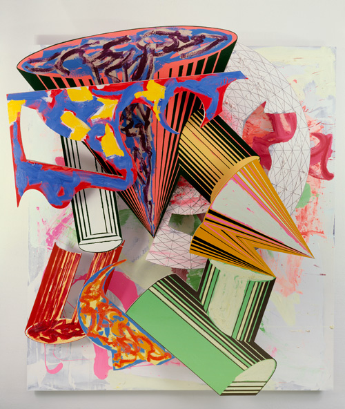 Frank Stella. Gobba, zoppa e collotorto, 1985. Oil, urethane enamel, fluorescent alkyd, acrylic and printing ink on etched magnesium and aluminium. 137 x 120 1/8 x 34 3/8 in (348 x 305 x 87.5 cm). The Art Institute of Chicago; Mr. and Mrs. Frank G. Logan Purchase Prize Fund; Ada Turnbull Hertle Endowment 1986.93. © 2015 Frank Stella/Artists Rights Society (ARS), New York.