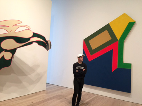 Frank Stella. A Retrospective. Gallery view showing juxtaposition of aluminium to Irregular Polygon. Photograph: Jill Spalding.