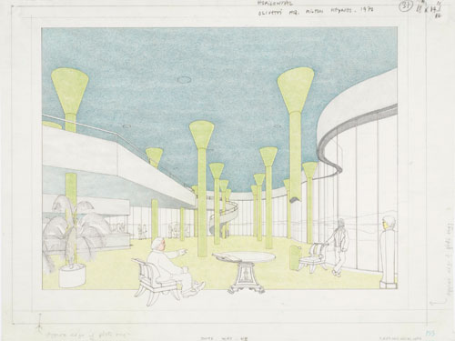James Stirling and Partner. <em>British Olivetti Headquarters, Milton Keynes: interior perspective</em>, 1970-74.  Ink, coloured pencil and graphite on paper. James Stirling/Michael Wilford fonds, Collection Centre Canadien d&rsquo;Architecture/Canadian Centre for Architecture, Montr&eacute;al