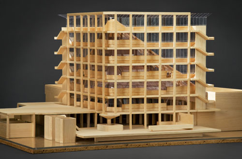 James Stirling (Firm). History Faculty Building, University of Cambridge, England (1963-67). Presentation model, wood and plastic. James Stirling/Michael Wilford fonds, Canadian Centre for Architecture, Montréal. © CCA.