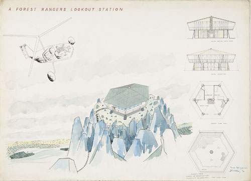 James Frazer Stirling. <em>Forest Ranger&rsquo;s Lookout Station</em>: perspective, section, elevation, and plans, 1949. Ink, watercolour and graphite on paper. James Stirling/Michael Wilford fonds, Canadian Centre for Architecture, Montr&eacute;al &copy; CCA.