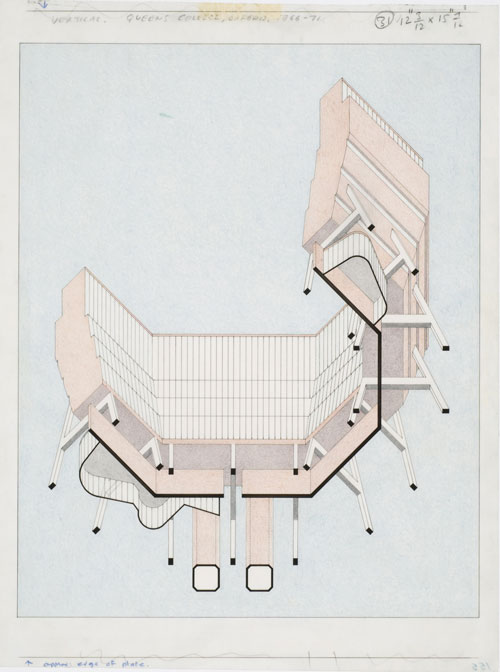 James Stirling (Firm). Florey Building, The Queen's College, Oxford. Axonometric, 1966-71. Ink, graphite, and coloured crayon on tracing paper. James Stirling/Michael Wilford fonds, Collection Centre Canadien d'Architecture/Canadian Centre for Architecture, Montréal