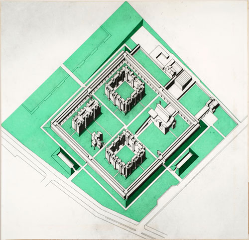 Stirling and Gowan. <em>Churchill College, Cambridge: axonometric</em>, 1958 or after. Gelatin silver print with coloured transfer film mounted on masonite panel. James Stirling/Michael Wilford fonds, Collection Centre Canadien d&rsquo;Architecture/Canadian Centre for Architecture, Montr&eacute;al.