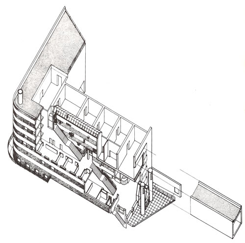 Arthur M. Sackler Museum, Harvard University. Cut away axonometric revealing the great glazed central stairway which links the galleries with the staff offices on the street fronts. Also evident are archeological fragments from the Romano-Coptic Collection embedded in the stairway wall. <em>Studio International</em>, Vol 198, No 1010, 1985.