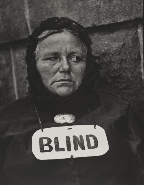 Paul Strand. Blind Woman, New York, 1916 (negative); 1945 (print). Gelatin silver print, Image: 12 3/4 × 9 3/4 in (32.4 × 24.8 cm), The Paul Strand Collection, partial and promised gift of Marguerite and Gerry Lenfest, 2009. © Paul Strand Archive/Aperture Foundation.