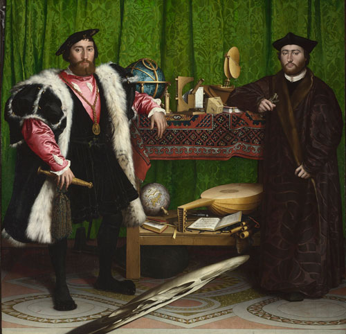 Hans Holbein the Younger (1497/8-1543). Jean de Dinteville and Georges de Selve ('The Ambassadors'), 1533. Oil on oak. The National Gallery, London. © The National Gallery, London.