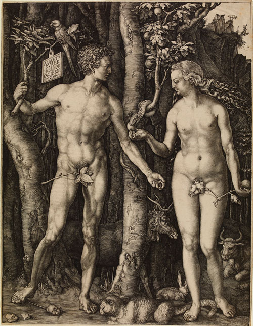 Albrecht Dürer (1471–1528). Adam and Eve, 1504. Engraving, 25.2 x 19.3 cm. © The British Museum, London.