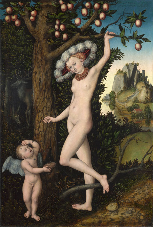 Lucas Cranach the Elder (1472-1553). Cupid complaining to Venus, about 1525. Oil on wood, The National Gallery, London. © The National Gallery, London.