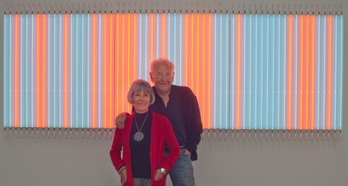 Danielle and Franςois Morellet with Rouge Pair-Bleu Impair n;1, n;2 et n; 3 by Franςois Morellet. Photograph © Roswitha Pross, Munich.