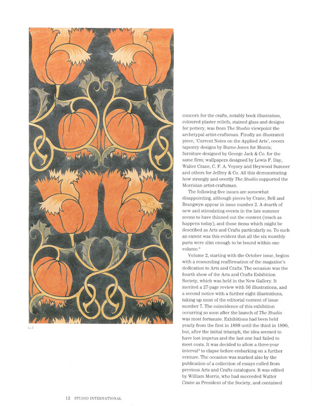 Studio International Special Centenary Number, Vol 201 No 1022/1023, page 12. Charles Francis Annesley Voysey (1857-1941), Tulips, c1888. Design for printed velveteen, 80 x 40 cm. © Studio International.