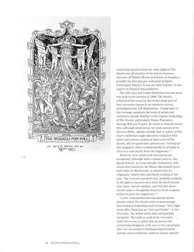 Studio International Special Centenary Number, Vol 201 No 1022/1023, page 16. Walter Crane (1845-1915), The Workers' Maypole, 1894. Process engraving, 31.5 x 18.8 cm. © Studio International.