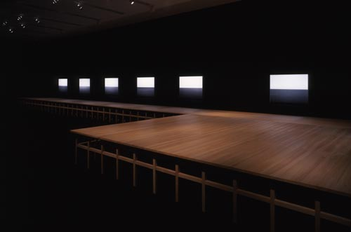 Hiroshi Sugimoto. View of<em> Seascapes </em>in the gallery set around the Noh performance stage. Copyright Hiroshi Sugimoto.