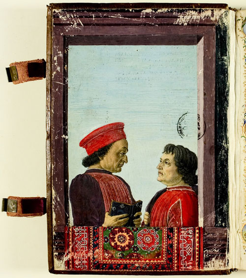Attributed to Botticelli. Portrait of Montefeltro and Landino © Biblioteca Apostolica Vaticana.