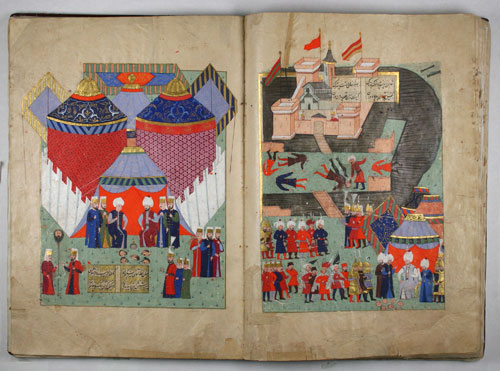 History of Sultan Sulayman, Fall of Szigetvar Bound manuscript, 1579 © Trustees of the Cester Beatty Library.