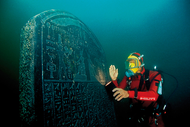 Stele of Thonis-Heracleion, Thonis-Heracleion, Aboukir Bay, Egypt (SCA 277). © Franck Goddio/Hilti Foundation. Photograph: Christoph Gerigk.