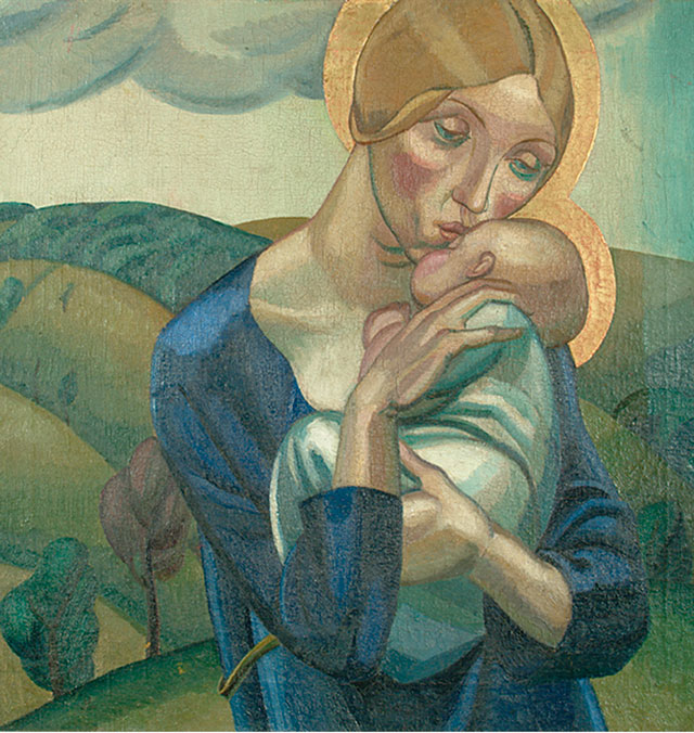 David Jones. Madonna and Child in a Landscape, 1924. Oil on canvas, 61 x 61 cm. Ditchling Museum of Art + Craft. © Trustees of the David Jones estate. Image courtesy of Ditchling Museum of Art + Craft.