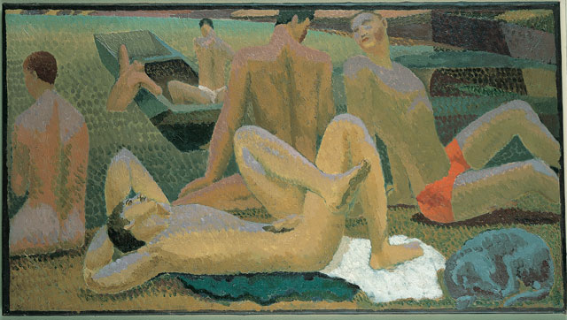 Duncan Grant. Bathers by the Pond, c1920-21. Oil on canvas, 49 x 90 cm. Pallant House Gallery (Hussey Bequest, Chichester District Council. © 1978 Estate of Duncan Grant, courtesy Henrietta Garnett / DACS 2016.