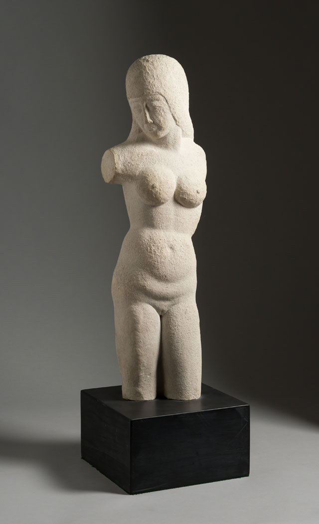 Eric Gill. Torso - Woman, 1913. Bath stone, on a slate base, 57.8 x 18 x 11.5 cm excluding base. Ingram Collection. Courtesy of the Ingram Collection of Modern British Art / Image credit © JP Bland.
