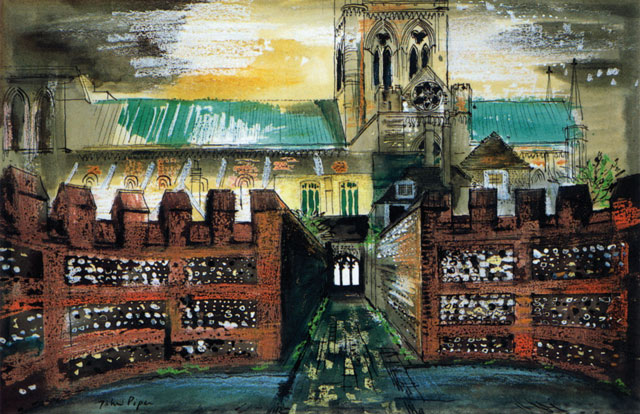 John Piper. View of Chichester Cathedral from the Deanery, 1975. Ink, watercolour and crayon on paper, 46.1 x 63.8 cm. Pallant House Gallery (Hussey Bequest, Chichester District Council, 1985). © The Piper Estate / DACS 2016.