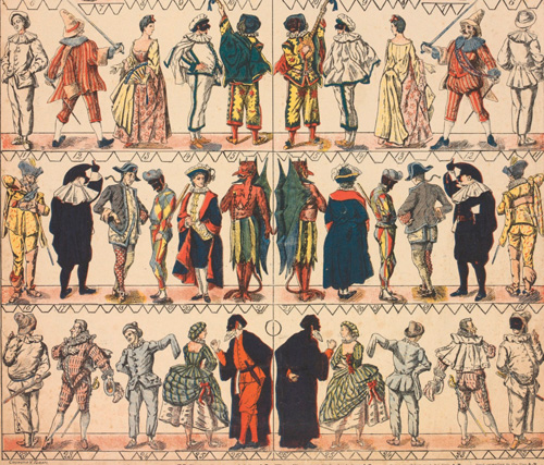 Masks and Characters of the Commedia dell'Arte (detail) Chromolithograph, 19th century. © Victoria and Albert Museum, London.