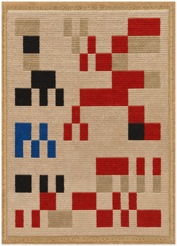 Sophie Taeuber-Arp, Composition pour l'Aubette (Composition for Aubette), 1928. Coloured cotton yarn, 82.2 x 58.1 cm . © Stiftung Arp e.V., Berlin / Rolandswerth, courtesy the estate and Hauser & Wirth.
