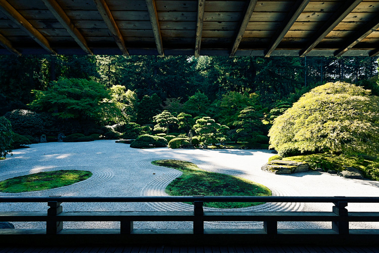 View of the Japanese garden through the Pavilion gallery. Photo: GION.