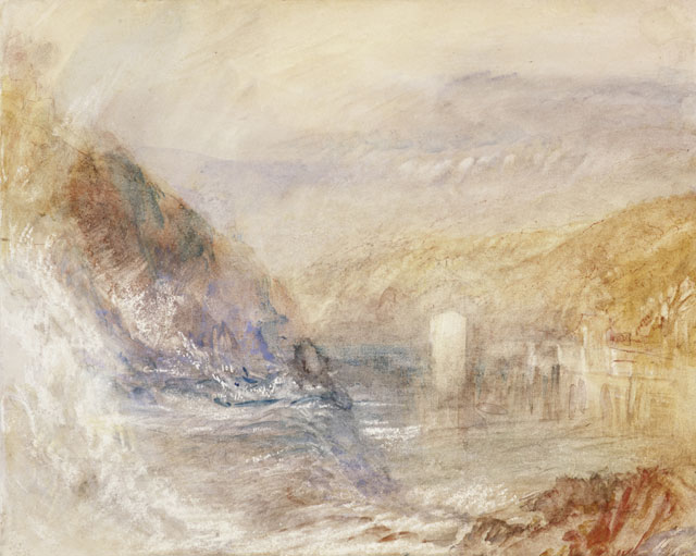 JMW Turner (1775-1851). Falls of the Rhine at Schaffhausen, Side View, about 1841. Watercolour, bodycolour, pen and ink detail and scraping on paper, 23 x 28.6 cm. Collection: Scottish National Gallery, Henry Vaughan Bequest 1900. Photo: Antonio Reeve.